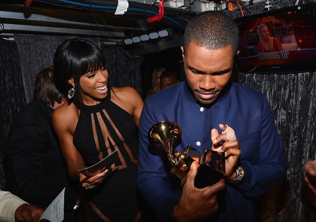 Kelly Rowland and Frank Ocean backstage at the 55th Annual Grammy Awards at the Staples Center in Los Angeles, CA on February 10, 2013.