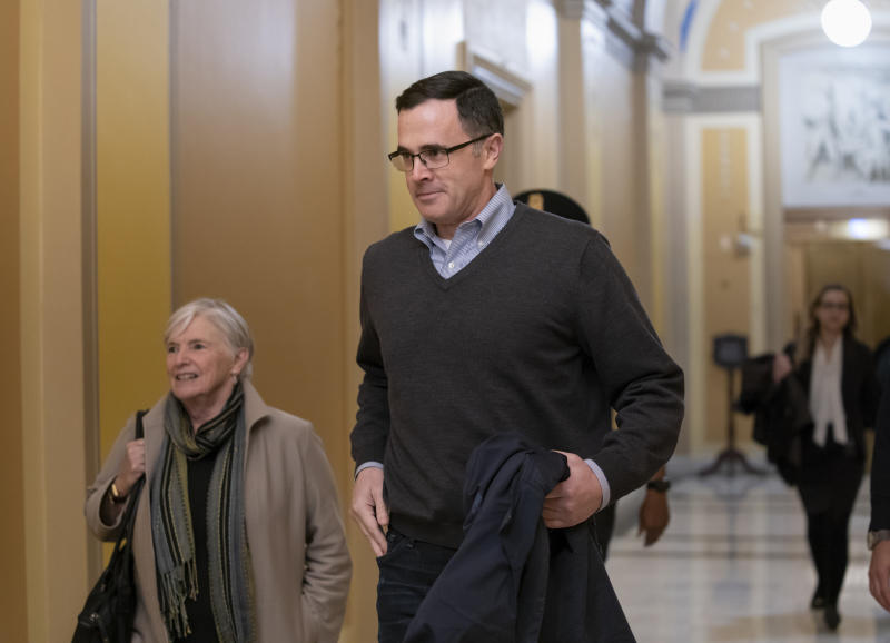 Tim Morrison, a former senior National Security Council official, arrives at the Capitol to review his previous testimony in the impeachment inquiry of President Donald Trump, in Washington, Wednesday, Nov. 6, 2019. (AP Photo/J. Scott Applewhite)