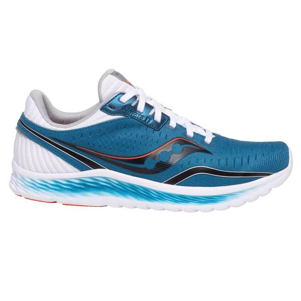 """<p><strong>Saucony</strong></p><p>dickssportinggoods.com</p><p><strong>$109.99</strong></p><p><a href=""""https://go.redirectingat.com?id=74968X1596630&url=https%3A%2F%2Fwww.dickssportinggoods.com%2Fp%2Fsaucony-mens-kinvara-11-running-shoes-20saumknvr11blblkmns%2F20saumknvr11blblkmns&sref=https%3A%2F%2Fwww.menshealth.com%2Fstyle%2Fg33011338%2Fbest-mens-shoes-standing-all-day%2F"""" rel=""""nofollow noopener"""" target=""""_blank"""" data-ylk=""""slk:BUY IT HERE"""" class=""""link rapid-noclick-resp"""">BUY IT HERE</a></p><p>This option is great for people who are on their feet all day. The soft and lightweight running shoe is best for people with neutral pronation. </p>"""