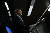 European Commissioner for An Economy that Works for People Valdis Dombrovskis speaks during a news conference following a European Foreign Trade ministers meeting at the European Council headquarters in Brussels, Thursday, May 20, 2021. (AP Photo/Francisco Seco, Pool)