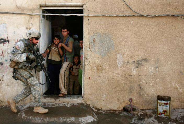 U.S. soldier on patrol in Baghdad, Iraq, on on May 12, 2008.
