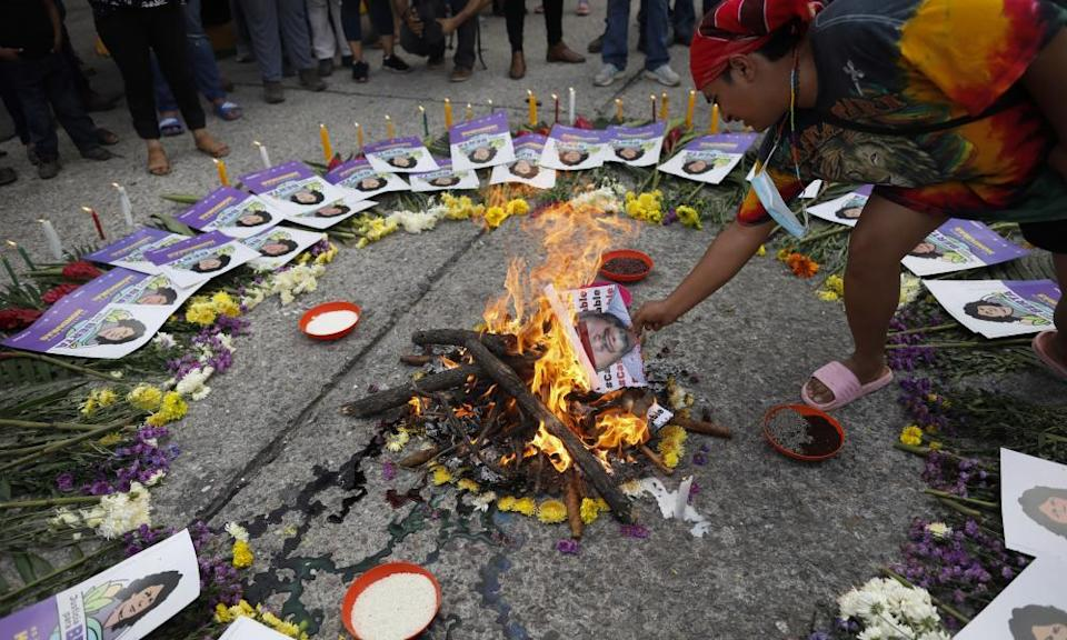 Supporters of Berta Cáceres protest during the trial of Roberto David Castillo in Tegucigalpa, Honduras, on Monday.