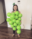 """<p>A smattering of green (or purple!) balloons attached to a black outfit will turn you into one of your favorite fruits in a flash. </p><p><a class=""""link rapid-noclick-resp"""" href=""""https://www.instagram.com/p/B4Se8ifhmKQ/"""" rel=""""nofollow noopener"""" target=""""_blank"""" data-ylk=""""slk:SEE MORE"""">SEE MORE</a></p><p><a class=""""link rapid-noclick-resp"""" href=""""https://www.amazon.com/Treasures-Gifted-Balloons-Birthday-Supplies/dp/B07FQ5R543?tag=syn-yahoo-20&ascsubtag=%5Bartid%7C10072.g.33547559%5Bsrc%7Cyahoo-us"""" rel=""""nofollow noopener"""" target=""""_blank"""" data-ylk=""""slk:SHOP BALLOONS"""">SHOP BALLOONS</a></p>"""
