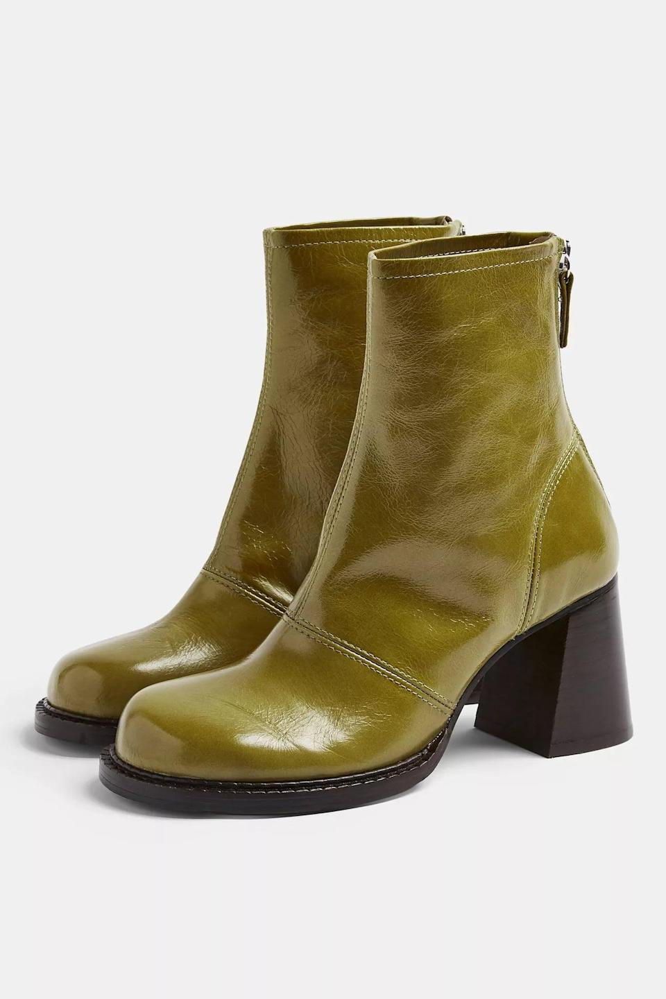 <p>Add a pop of color to your footwear with these <span>Patent Leather Chunky Scoop Toe Boots</span> ($170).</p>