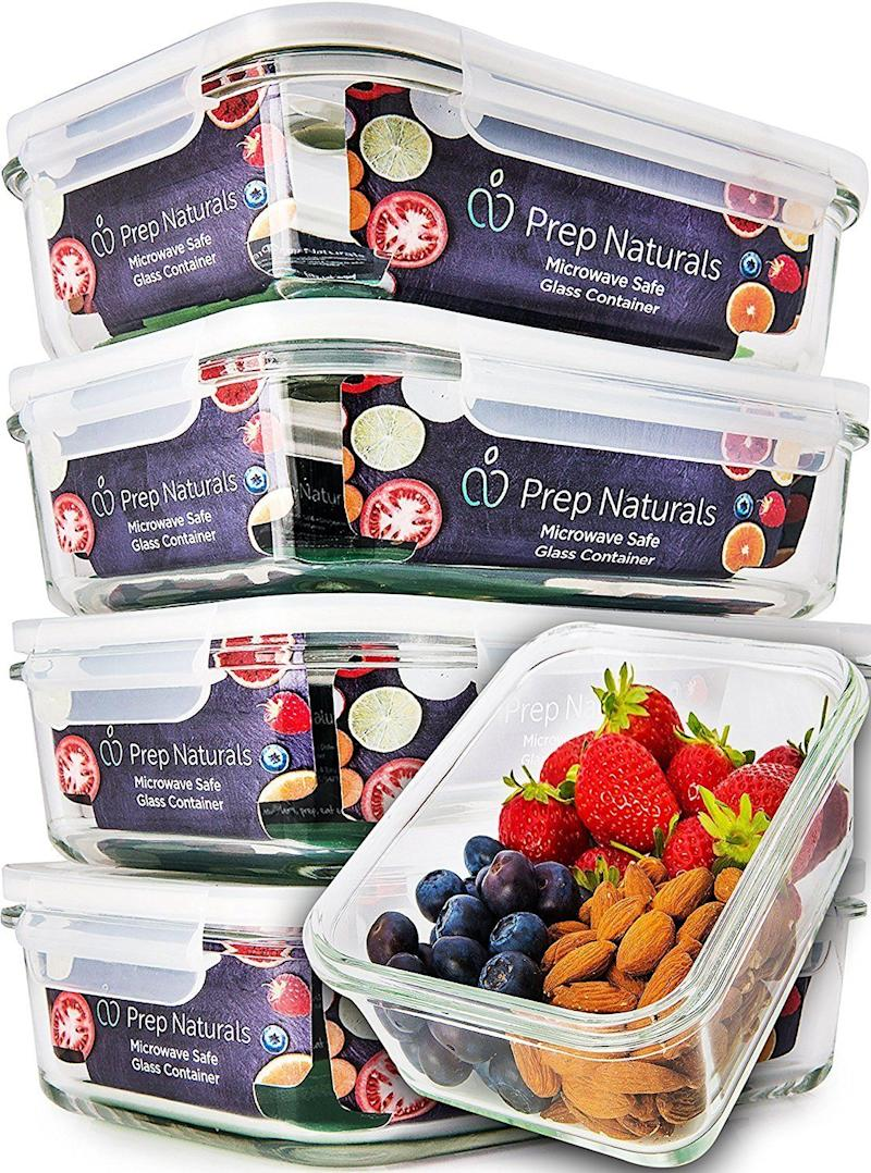 """<a href=""""https://www.amazon.com/5-Pack-Glass-Meal-Prep-Containers/dp/B06Y31WGWR/ref=sr_1_18?s=home-garden&ie=UTF8&qid=1510250866&sr=1-18&keywords=tupperware+set"""" target=""""_blank"""">$22</a>, Amazon."""