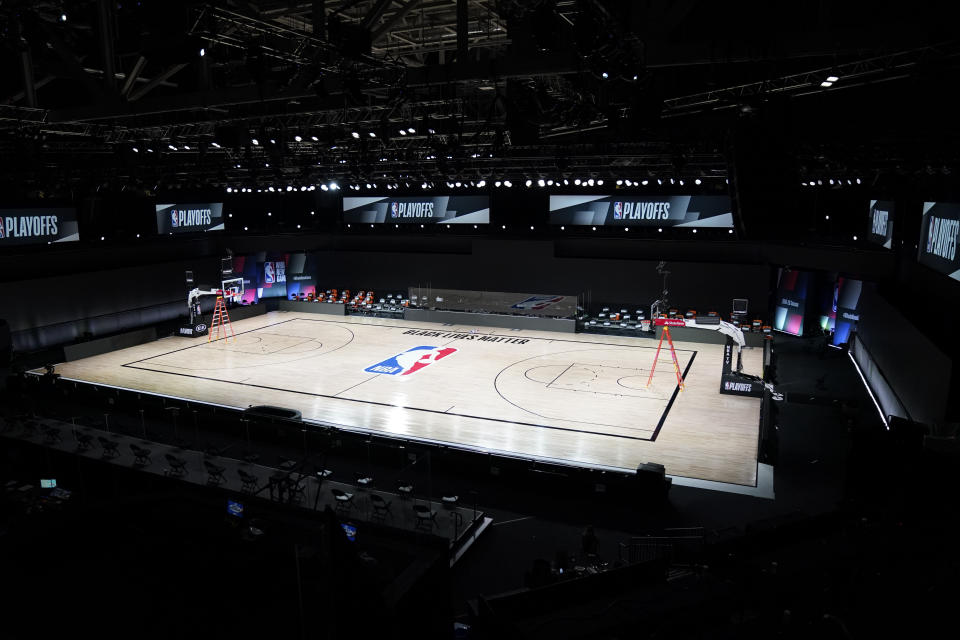 NBA basketball arenas are empty Friday, Aug. 28, 2020, at Walt Disney World in Lake Buena Vista, Fla.  (AP Photo/Ashley Landis, Pool)