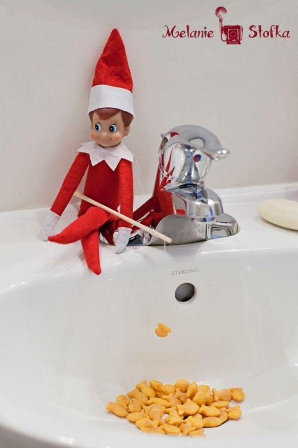 """<p>He may never get to see a real ocean, but he doesn't mind: Your elf will have an excellent time fishing for Goldfish crackers right in the middle of your kids' bathroom.</p><p><strong>Get the tutorial at <a href=""""https://rockingmy365project.wordpress.com/2013/11/07/elf-on-the-shelf-recap-2012/"""" rel=""""nofollow noopener"""" target=""""_blank"""" data-ylk=""""slk:Rocking My 365"""" class=""""link rapid-noclick-resp"""">Rocking My 365</a>.</strong></p><p><strong><a class=""""link rapid-noclick-resp"""" href=""""https://www.amazon.com/Pepperidge-Farm-Goldfish-Crackers-Multi-pack/dp/B0116WQ62G?tag=syn-yahoo-20&ascsubtag=%5Bartid%7C10050.g.22690552%5Bsrc%7Cyahoo-us"""" rel=""""nofollow noopener"""" target=""""_blank"""" data-ylk=""""slk:SHOP GOLDFISH"""">SHOP GOLDFISH</a><br></strong></p>"""