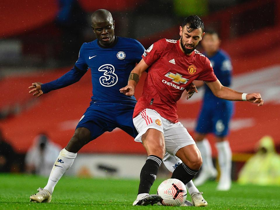 Manchester United midfielder Bruno Fernandes and Chelsea midfielder Ngolo Kante (POOL/AFP via Getty Images)