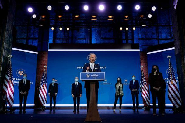 PHOTO: President-elect Joe Biden introduces his nominees and appointees to key national security and foreign policy posts at The Queen theater, Tuesday, Nov. 24, 2020, in Wilmington, Del. (Carolyn Kaster/AP)