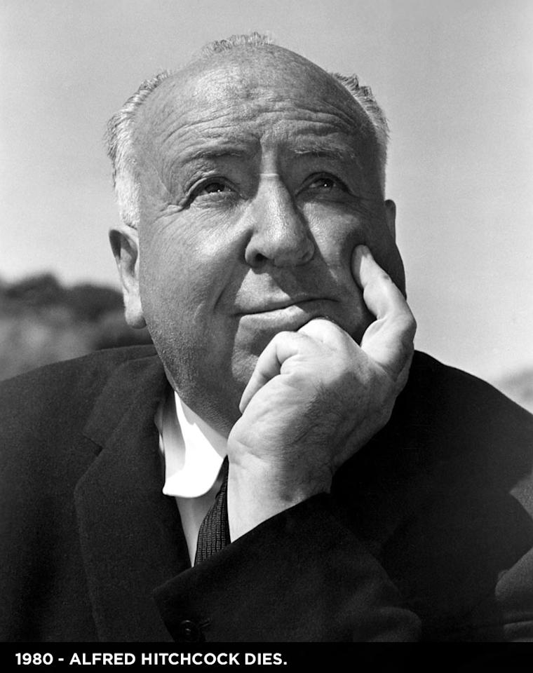 """1980  Director <a href=""""http://movies.yahoo.com/movie/contributor/1800011358"""">Alfred Hitchcock</a> died at the age of 80 at home in Bel Air. He directed more than fifty feature films and is widely consider the greatest British film director. Known for thrillers like """"Psycho"""" and """"The Birds,"""" he was a pioneer in film making and a cultural icon."""