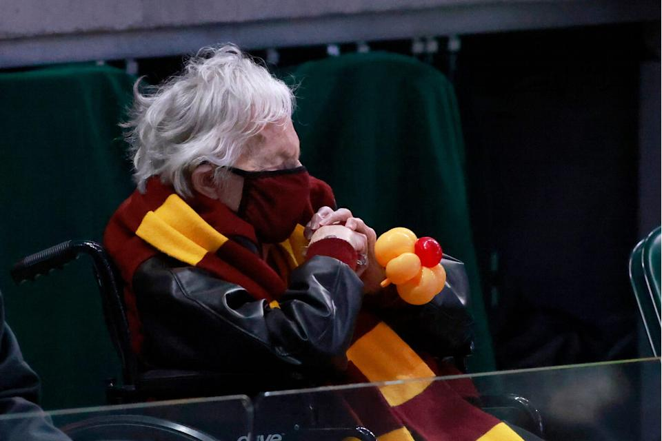 Sister Jean watching Loyola's upset against Illinois in the second round.