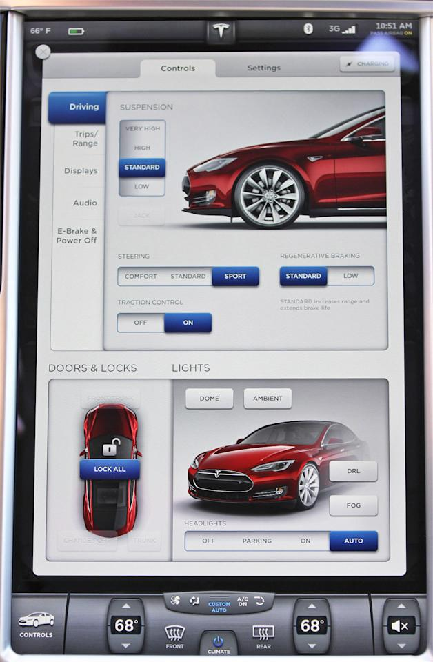 A close-up look at the Tesla's massive touch-screen.