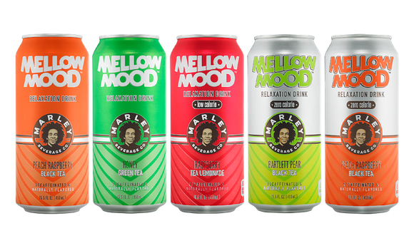 Cans of Mellow Mood, a New Age Beverages product line.