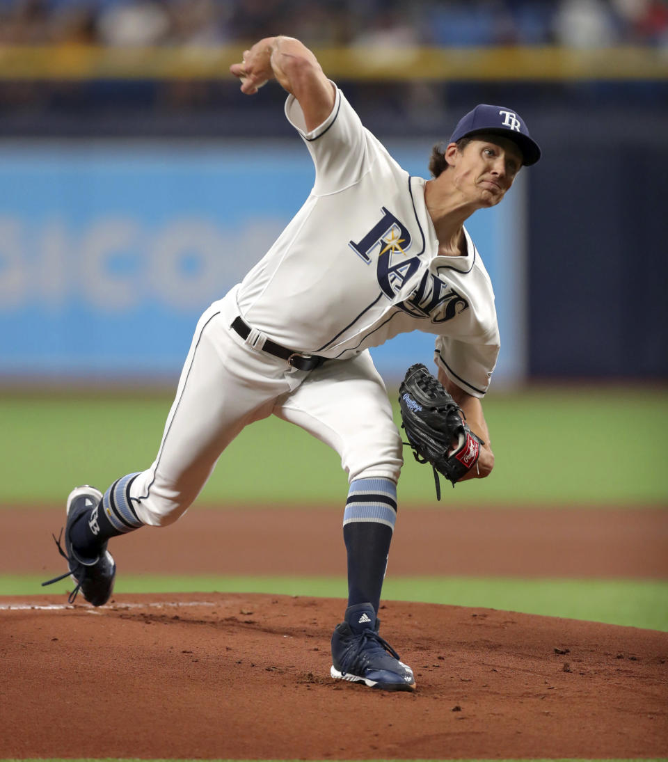 Tampa Bay Rays starting pitcher Tyler Glasnow throws during the first inning of a baseball game against the Houston Astros, Saturday, March 30, 2019, in St. Petersburg, Fla. (AP Photo/Mike Carlson)