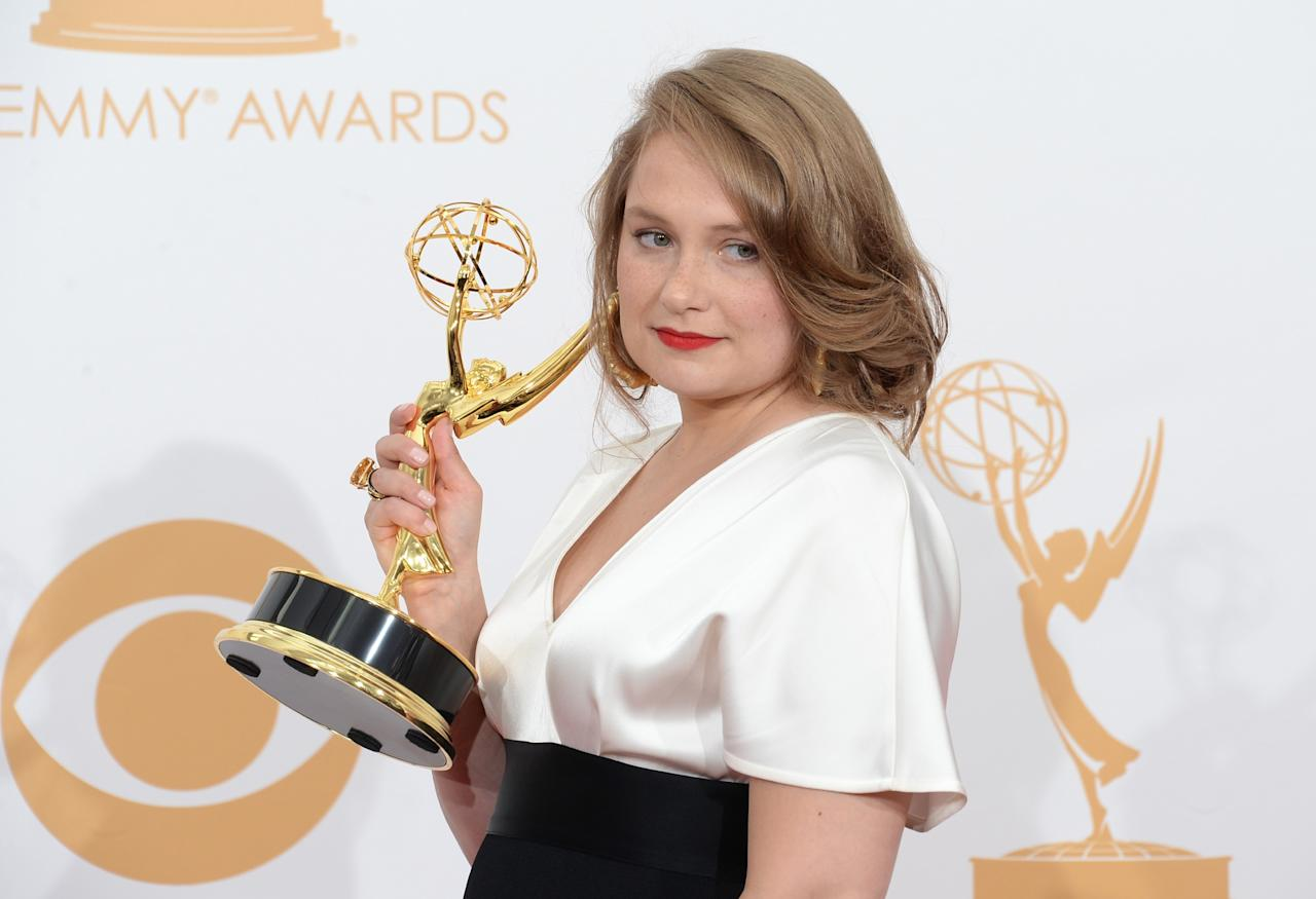 "LOS ANGELES, CA - SEPTEMBER 22: Actress Merritt Wever, winner of the Best Supporting Actress In A Comedy Series Award for ""Nurse Jackie"" poses in the press room during the 65th Annual Primetime Emmy Awards held at Nokia Theatre L.A. Live on September 22, 2013 in Los Angeles, California. (Photo by Jason Merritt/Getty Images)"