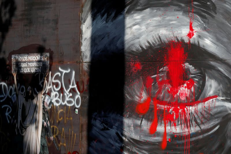 FILE PHOTO: Graffiti depicting an injured eye is seen during a protest against the government in Santiago