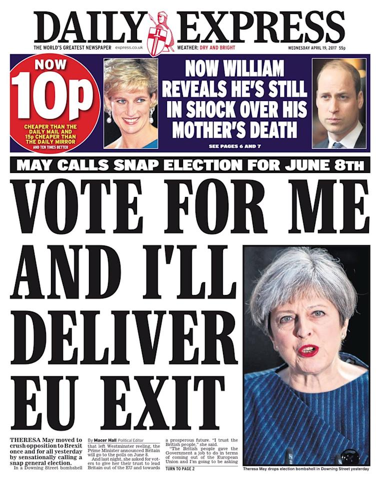 <p>The Daily Express picked up Theresa May's Brexit focus. </p>