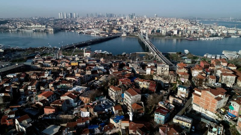FILE PHOTO: An aerial view of the city during the outbreak of the coronavirus disease (COVID-19), in Istanbul