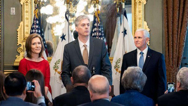 PHOTO: Stephen Akard, seen here at his swearing-in ceremony with Vice President Pence, resigned as acting Inspector General and Director of the Office of Foreign Missions at the State Department. (Tia Dufour/White House)
