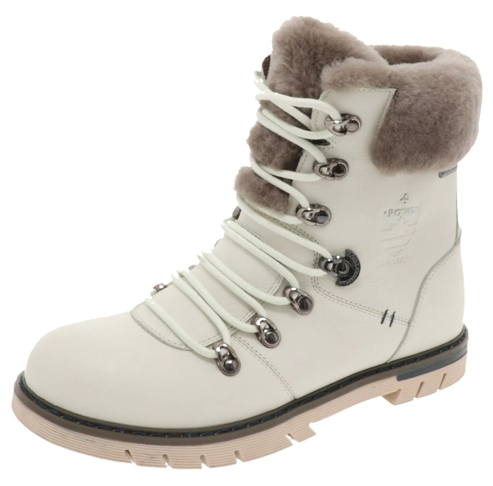 Royal Canadian 'Stratford' Genuine Shearling Cuff Waterproof Boot in Pale Ale White Leather (Photo via Nordstrom)