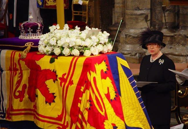 The Queen during the Queen Mother's funeral at Westminster Abbey