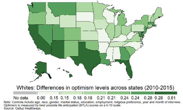 The geography of life optimism and worry in the U.S.