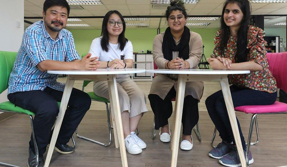 HIA founder Dr Fan Ning (left) and staff member Laila Kainat (right) with HIA workshop members. Photo: Xiaomei Chen