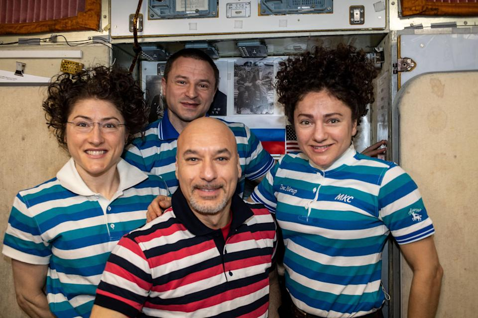Clockwise from left: NASA astronauts Christina Koch, Andrew Morgan, and Jessica Meir and ESA astronaut Luca Parmitano aboard the International Space Station.