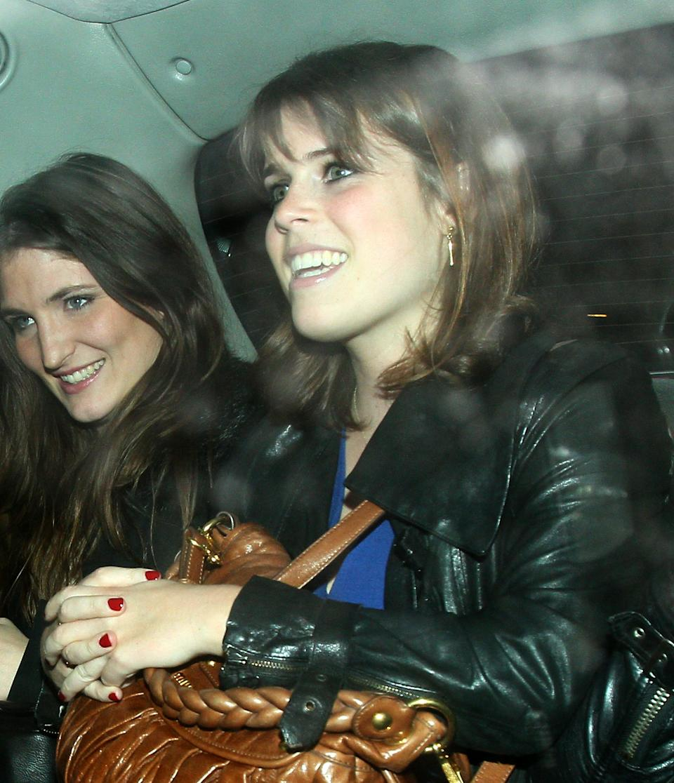 LONDON, UNITED KINGDOM - MARCH 22: Princess Eugenie of York leaving Hakkasan Mayfair restaurant on March 22, 2012 in London, England. (Photo by Mark Milan/FilmMagic)