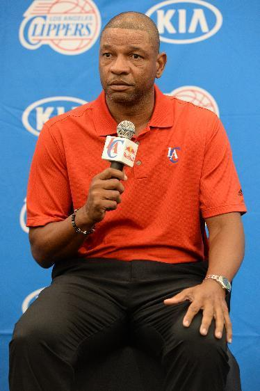PLAYA VISTA, CA - JULY 10: Doc Rivers of the Los Angeles Clippers speaks to the media during a press conference on July 10, 2014 at the Los Angeles Clippers Training Facility in Playa Vista, California. (Photo by Andrew D. Bernstein/NBAE via Getty Images)