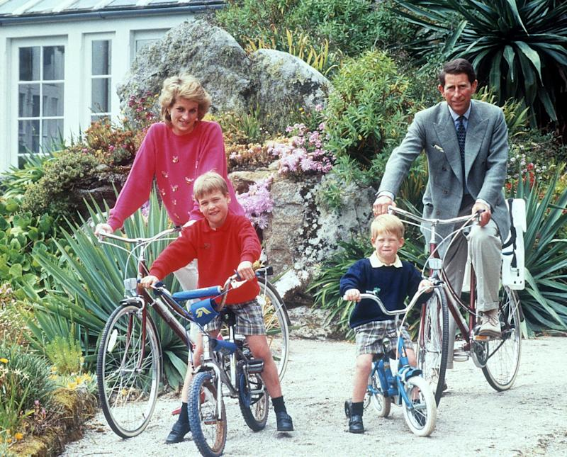 Prince William, Prince Harry, Princess Diana and Prince Charles on the Isles of Scilly in 1989 (Shutterstock)