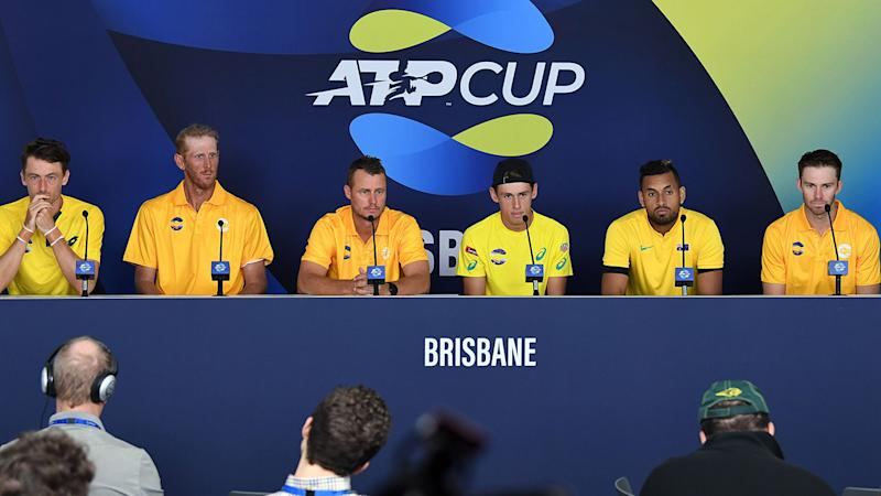 John Millman, Chris Guccione, Lleyton Hewitt, Alex de Minaur, Nick Kyrgios and John Peers, pictured here at an ATP Cup media conference. (Photo by SAEED KHAN/AFP via Getty Images)