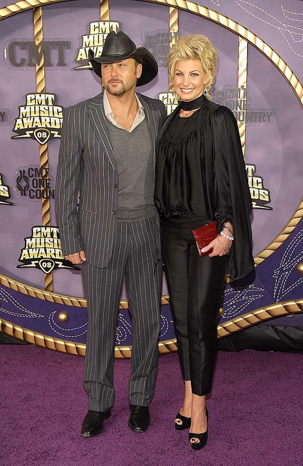 """Tim McGraw looked dapper, but what was up with wife Faith Hill's matronly ensemble and sky-high hairdo? Stephen Lovekin/<a href=""""http://www.gettyimages.com/"""" target=""""new"""">GettyImages.com</a> - April 14, 2008"""