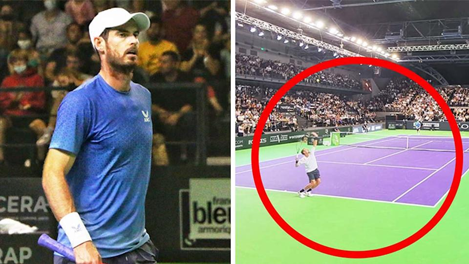 Andy Murray (pictured left) after his defeat at the Rennes Challenger Event and (pictured right) Roma Safiullin serving.