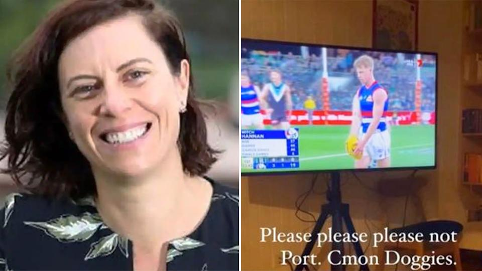 Pictured here, Bridie O'Donnell and her controversial post about the Western Bulldogs.