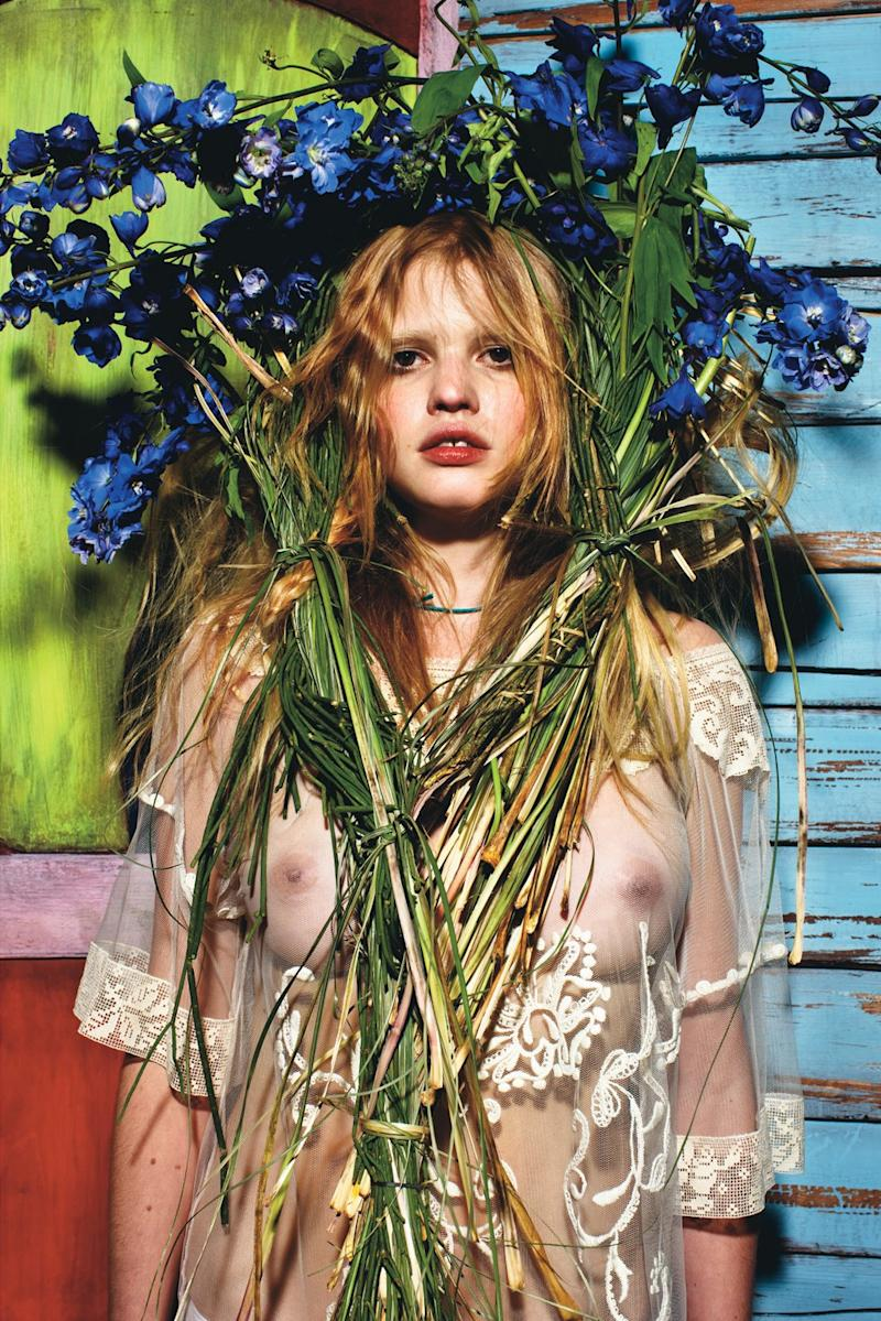 "Lara Stone in ""Harvest."""