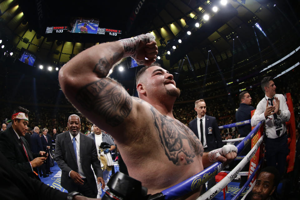 Andy Ruiz celebrates aftera heavyweight championship boxing match against British boxer Anthony Joshua Saturday, June 1, 2019, in New York. Ruiz stopped Joshua in the seventh round. (AP Photo/Frank Franklin II)