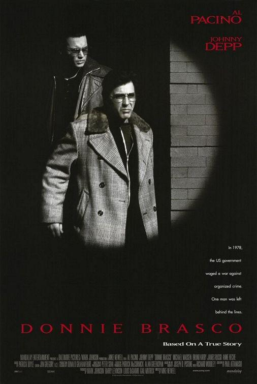 The poster for Donnie Brasco starring Johnny Depp and Al Pacino.