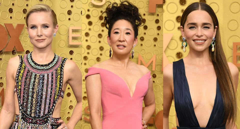 Kristen Bell, Sandra Oh and Emilia Clarke arrive at the Emmys 2019. (Photo: Getty Images)