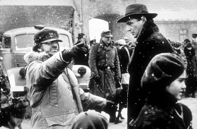 Steven Spielberg directs Liam Neeson on the set of <em>Schindler's List</em>. (Photo: Courtesy of Everett Collection)