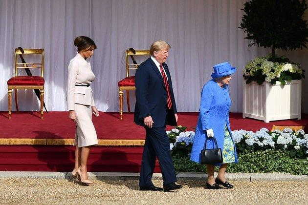 Trump and Melania with the Queen in 2018