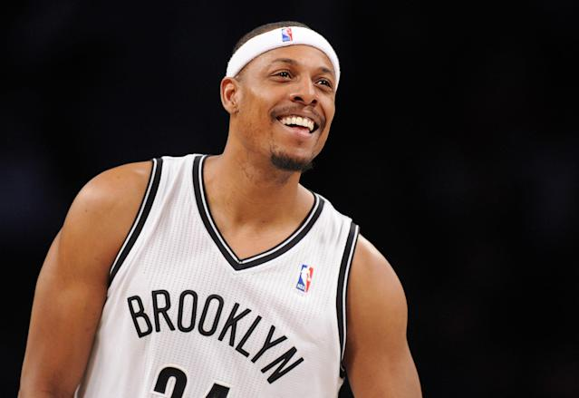 NEW YORK, NY - DECEMBER 12: Paul Pierce #34 of the Brooklyn Nets smiles during the second half against the Los Angeles Clippers at Barclays Center on December 12, 2013 in the Brooklyn borough of New York City. The Nets defeat the Clippers 102-93. (Photo by Maddie Meyer/Getty Images)