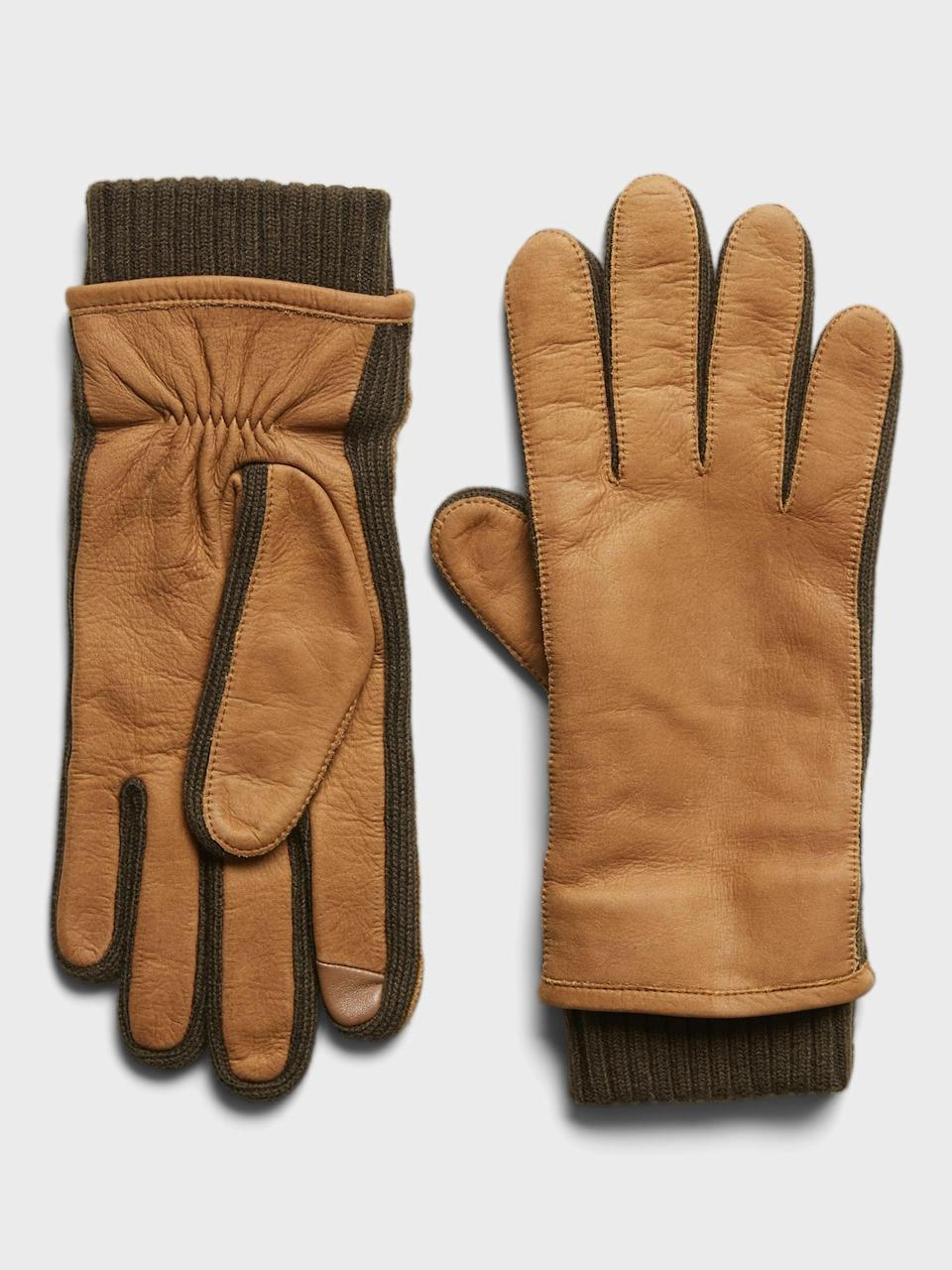 <p>These <span>Banana Republic Nubuck Leather and Merino-Blend Gloves</span> ($99) will definitely come in handy this winter.</p>