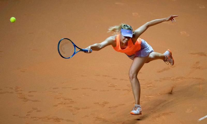 Maria Sharapova fails to reach a Kristina Mladenovic serve on her way to defeat at the Porsche Grand Prix semi-final in Stuttgart.