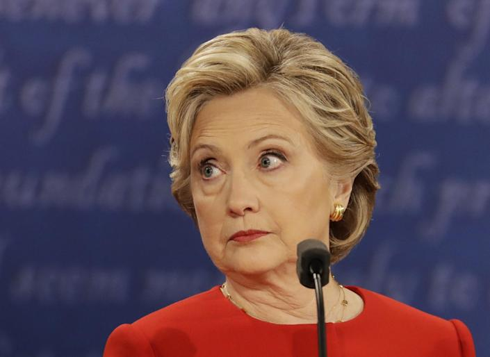 Hillary Clinton during the presidential debate at Hofstra University in Hempstead, N.Y., on Monday. (Photo: Julio Cortez/AP) <br>