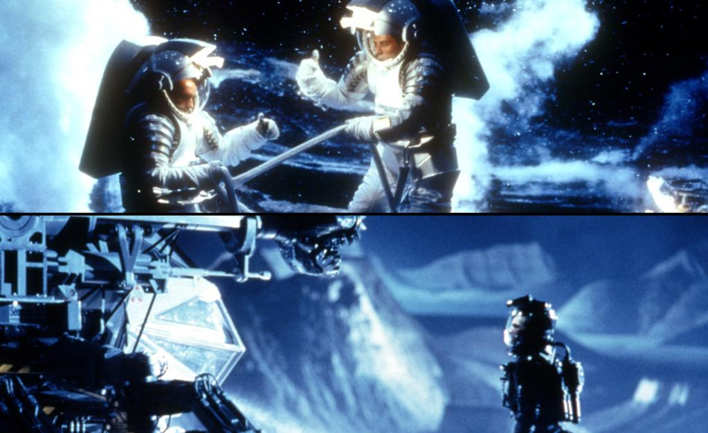 "<a target=""_blank"" href=""http://movies.yahoo.com/movie/deep-impact/"">""Deep Impact""</a> (May 8, 1998)<br><br>  <b>Synopsis:</b> After it's discovered that a comet is heading toward Earth, a U.S.  spaceship is launched to blow it up. The plan fails, splitting the comet  into two pieces, both hurtling towards different parts of North  America. One is expected to trigger catastrophic tidal waves on the  eastern seaboard and the other to create dense clouds of dust that could  wipe out all life.<br><b>Score on Rotten Tomatoes:</b> 47%<br><b>U.S. box office:</b> $140m<br><br><a target=""_blank"" href=""http://movies.yahoo.com/movie/armageddon/"">""Armageddon""</a> (July 1, 1998)<br><br>  <b>Synopsis:</b> An oil driller and his crew are hired to rocket out to a gigantic asteroid and blow it up before it slams into the Earth.<br><b>Score on Rotten Tomatoes:</b> 40%<br><b>U.S. box office:</b> $202m"