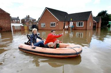 dingy on flooded road