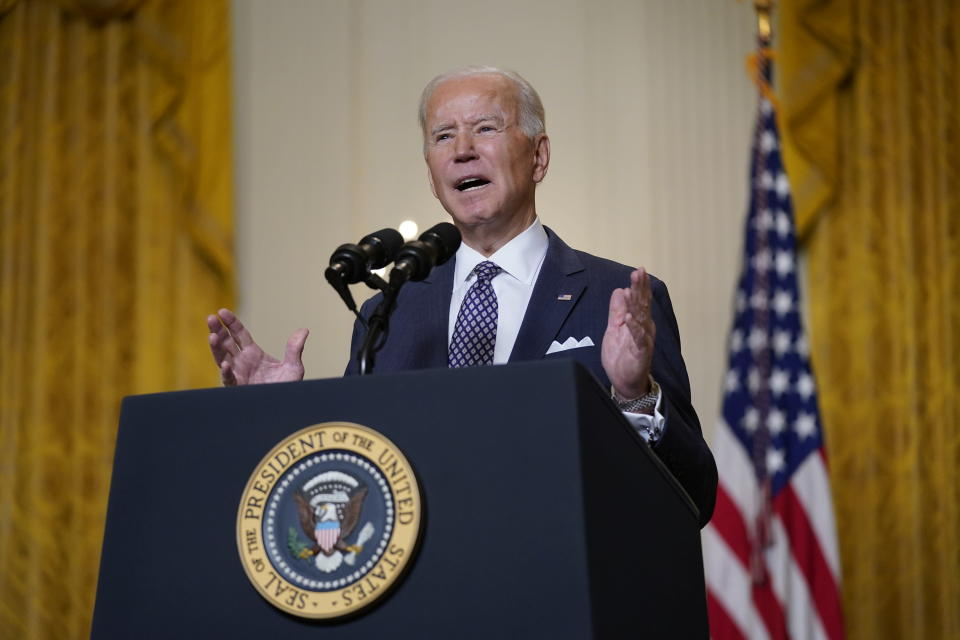 President Joe Biden speaks during a virtual event with the Munich Security Conference in the East Room of the White House, Friday, Feb. 19, 2021, in Washington. (AP Photo/Patrick Semansky)