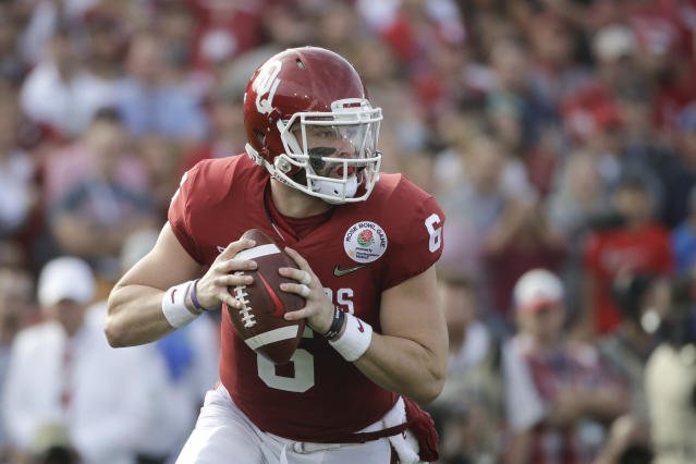 Oklahoma quarterback Baker Mayfield is still reportedly under consideration for the first overall pick. (AP)