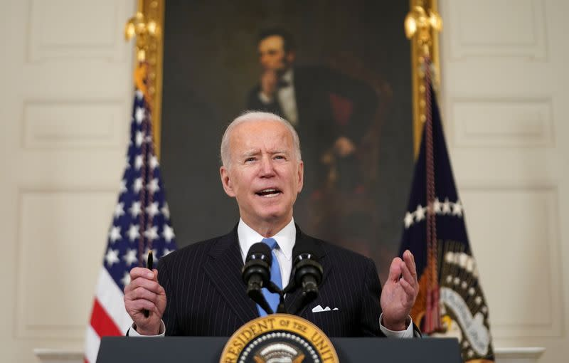 Biden speaks about the COVID-19 pandemic response at the White House in Washington